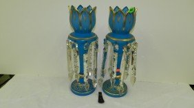 Pair Antique Victorian Blue Glass Hand Painted Man