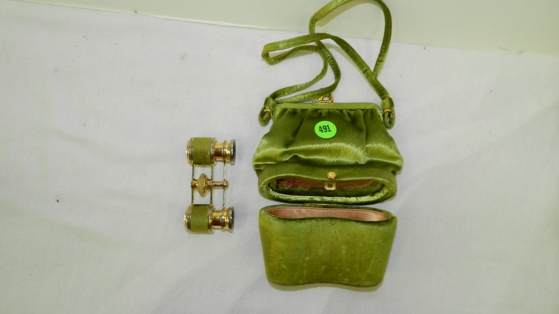 491: victorian Paris opera glasses with purse type case