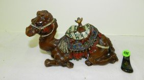 Metal Painted Camel Inkwell, Saddle Hinge Off,
