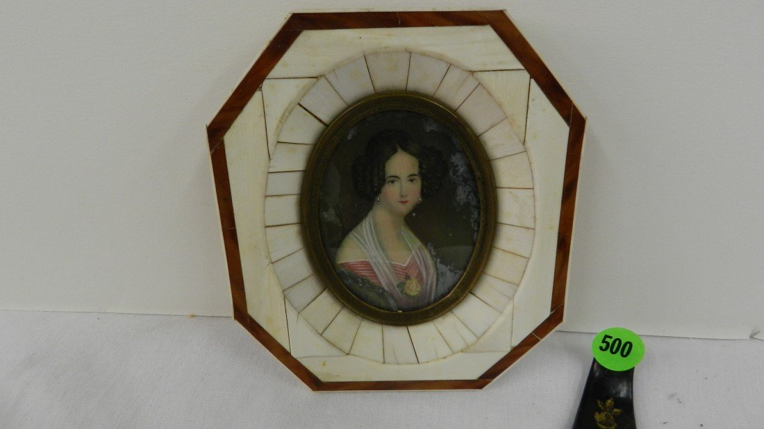 500: small framed antique portrait painting on Ivory in