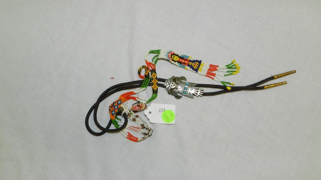 500L: vintage Native American handmade bolo & necklace