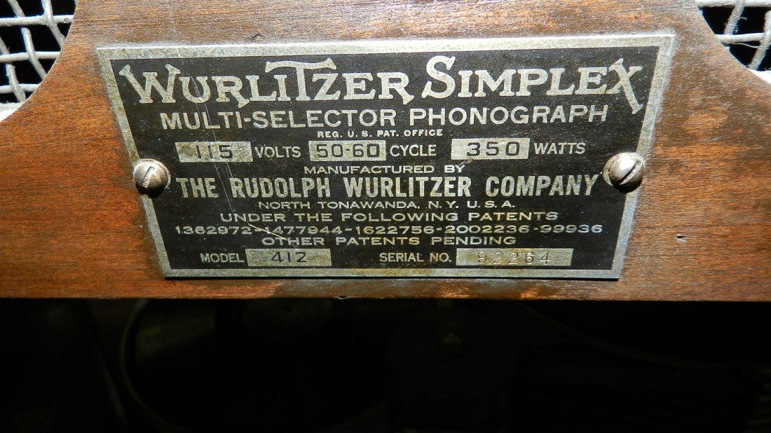 102: vintage wurlitzer jukebox model 412 c. 1936 wood c - 9