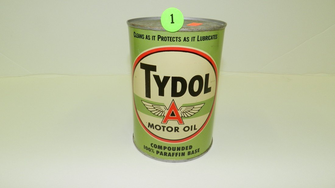"1: vintage service station unopened oil can ""Tydol"" fly"
