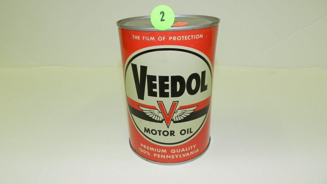 """2: vintage service station unopened oil can """"Veedol"""" fl"""
