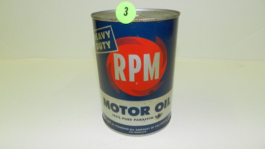 "3: vintage service station unopened oil can ""RPM"""