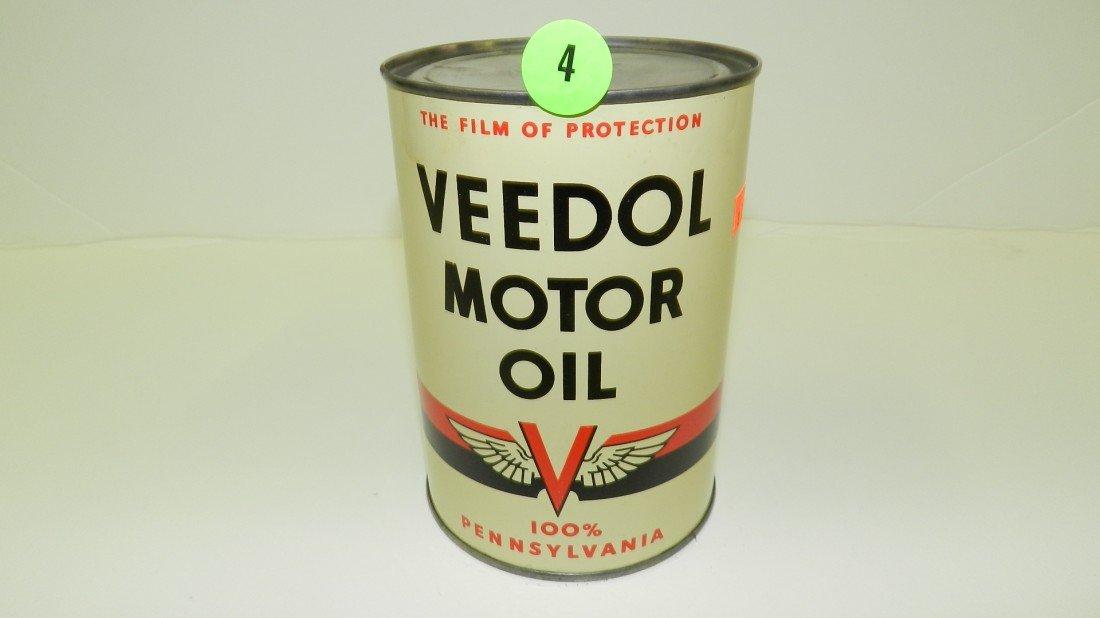 """4: vintage service station unopened oil can """"Veedol"""" fl"""