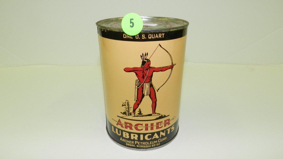 """5: vintage service station unopened oil can """"Archer"""""""