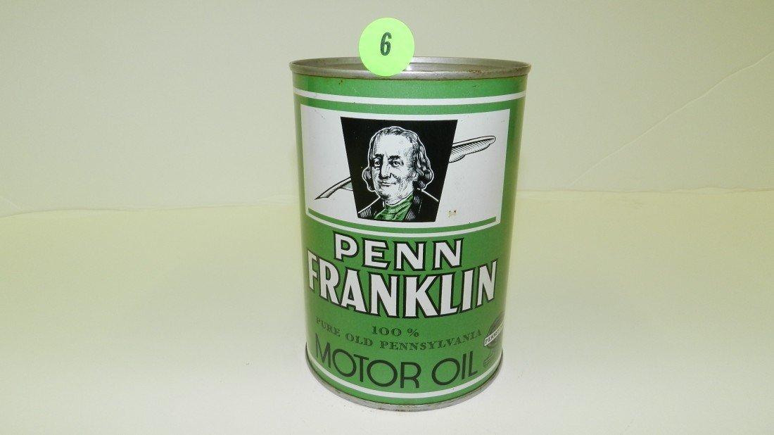 """6: vintage service station unopened oil can """"Penn Frank"""