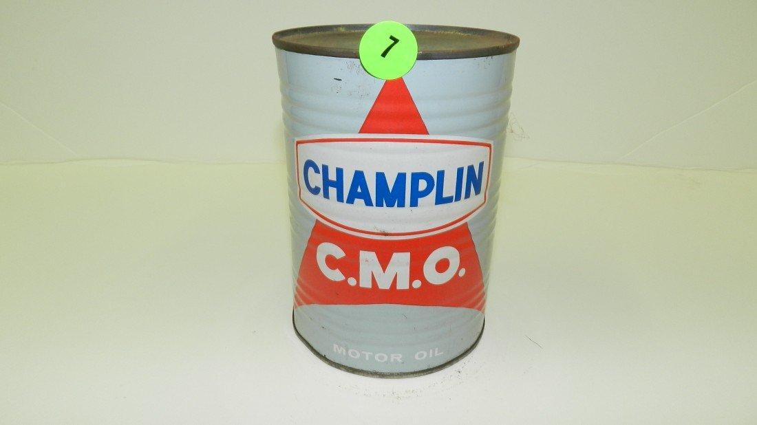 "7: vintage service station unopened oil can ""Champlin"""