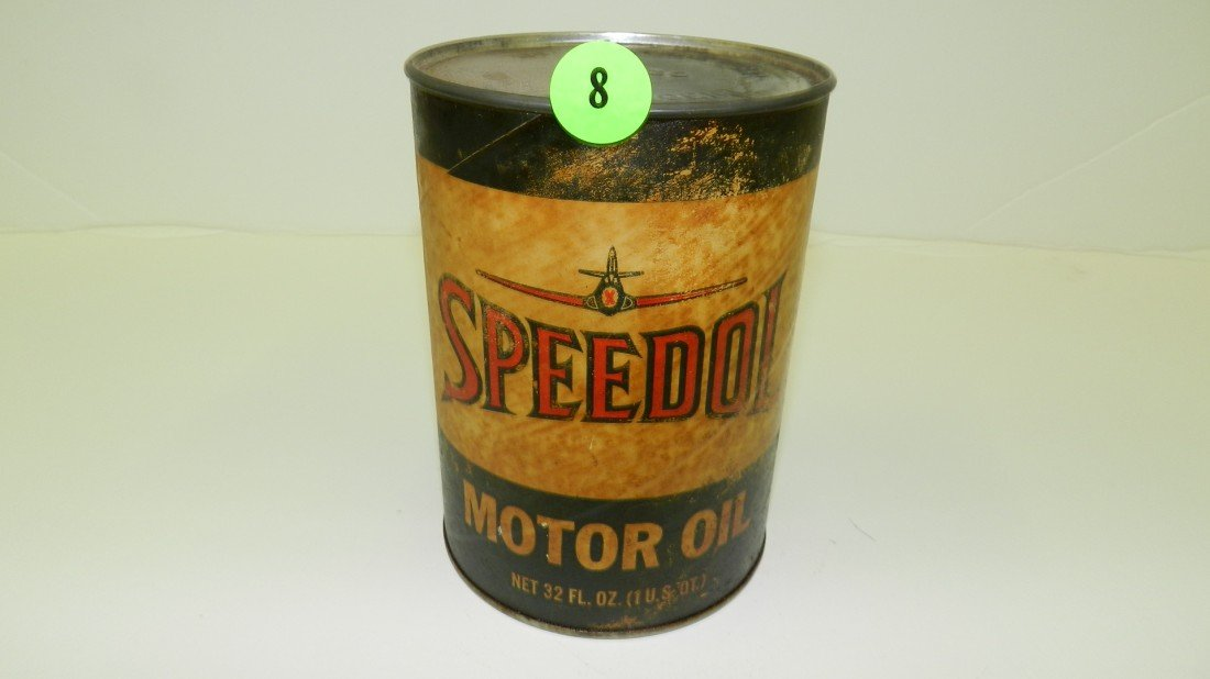 "8: vintage service station unopened oil can ""Speedol"""