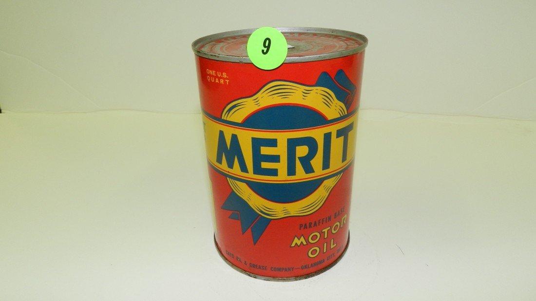 """9: vintage service station unopened oil can """"Merit"""""""