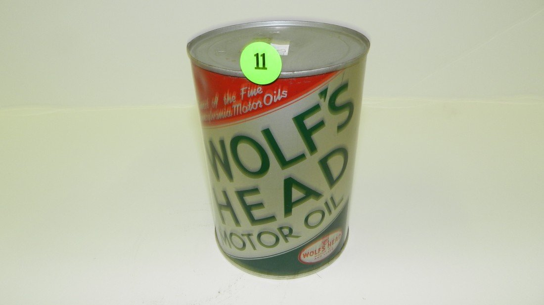 """11: vintage service station unopened oil can """"Wolf's He"""