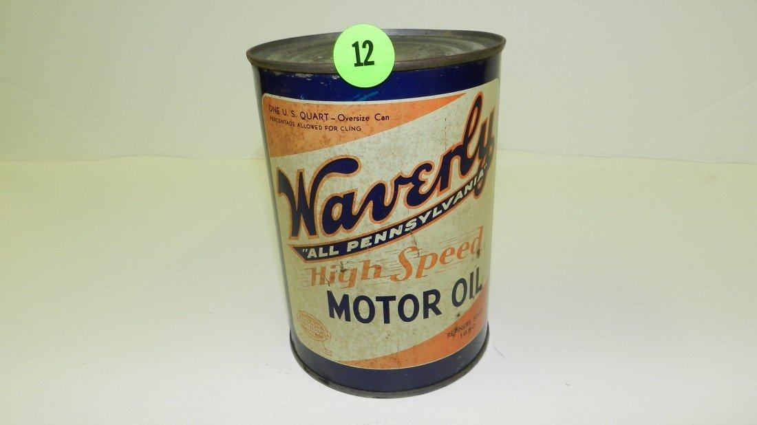 "12: vintage service station unopened oil can ""Waverly"""