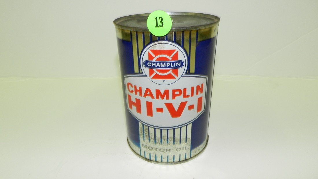 "13: vintage service station unopened oil can ""Champlin"""