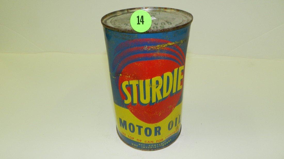 "14: vintage service station unopened oil can ""Sturdie"""