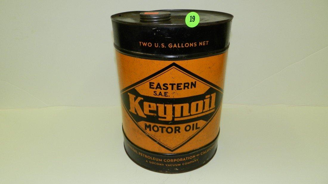 """19: vintage service station oil can """"Keynoil"""""""