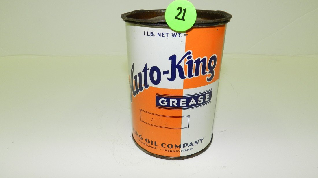 21: vintage service station Auto-King grease can