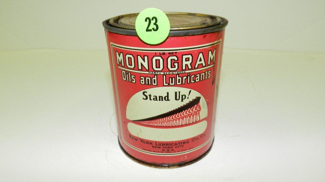 23: vintage service station Monogram oil can