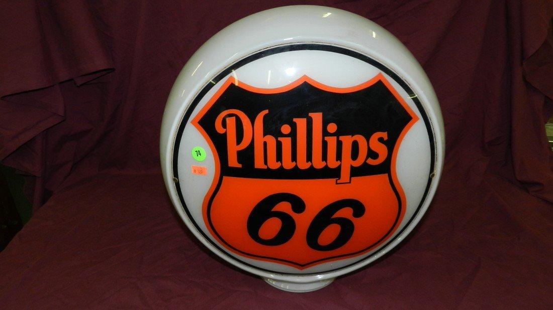 74: Vintage Original Phillips 66 Gas Pump Globe, all g