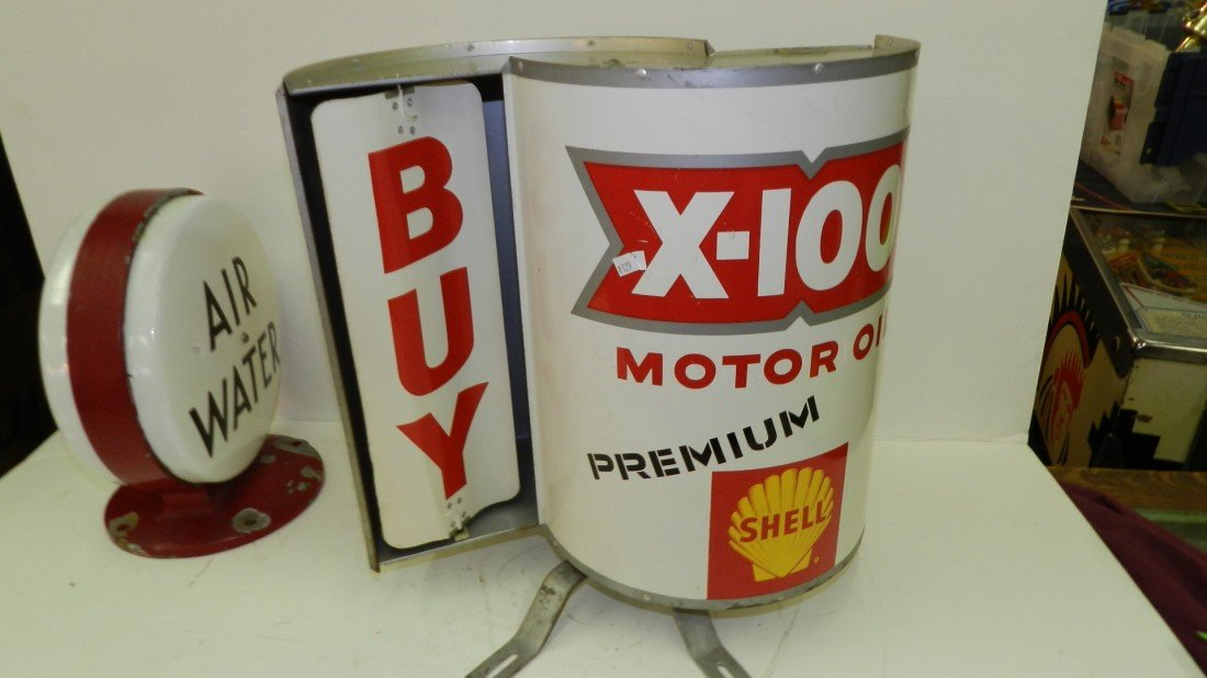 224: vintage Shell turning metal gas sign - 2