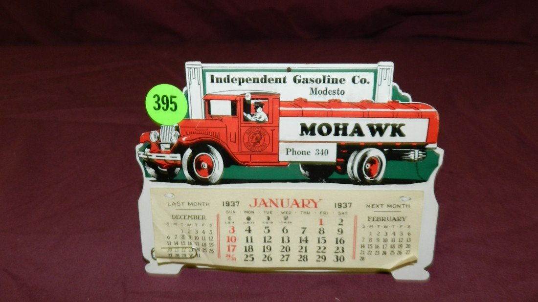 395: original desk top 1937 Mohawk gasoline calendar