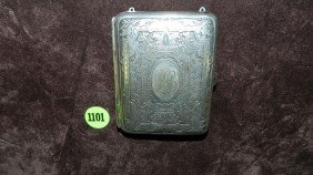 1101: antique German Silver hand chased compact case
