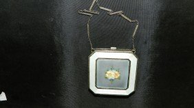 1102: lovely enameled painted silver compact case