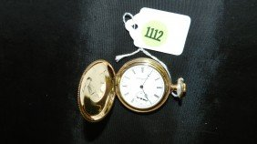 1112: wonderful antique gold (plated) pocket watch with