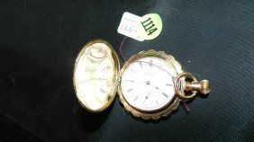 1114: wonderful antique gold 14KT (stamped) pocket watc