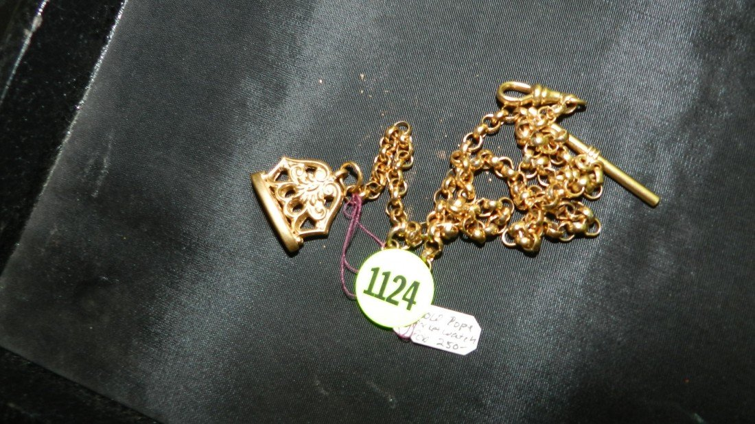 1124: antique gold plated pocket watch fob