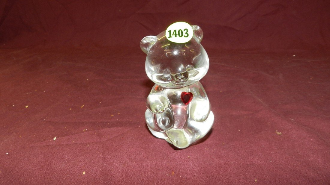1403: Fenton glass red Heart bear