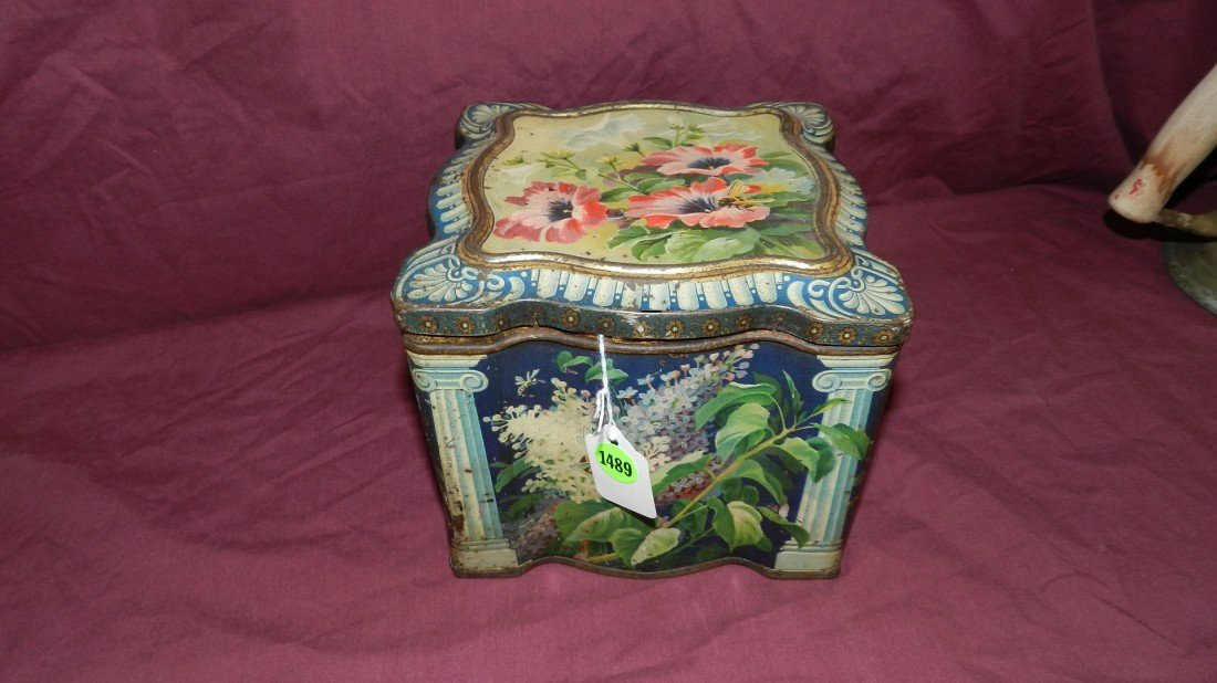 1489: antique litho floral tin