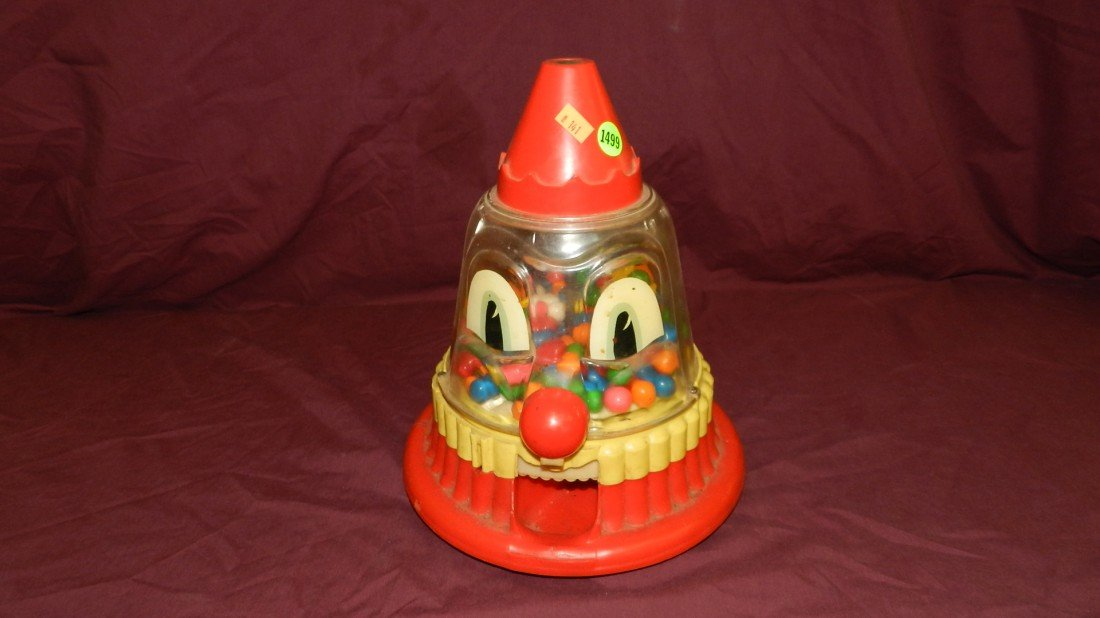 1499: vintage child's toy clown gumball machine