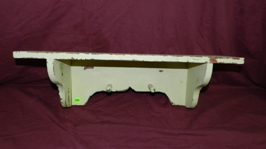 1504: painted wall shelf hat rack