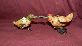 Antique Tin Wind Up Chicken And Duck Fighting Ove