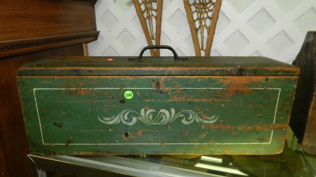 1588: Primitive wooden tote box