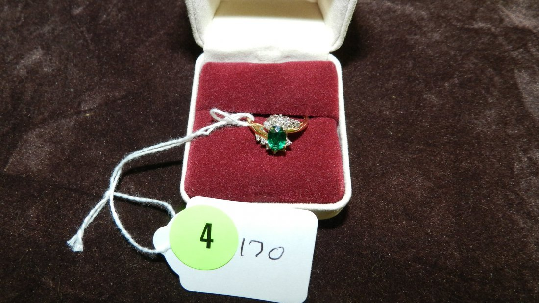 4: LOVELY LADIES GOLD AND DIAMOND / EMERALD?  RING
