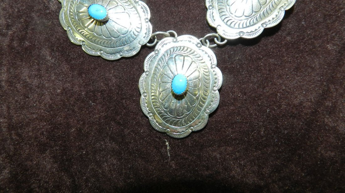 13: native american sterling and turquoise necklace & e