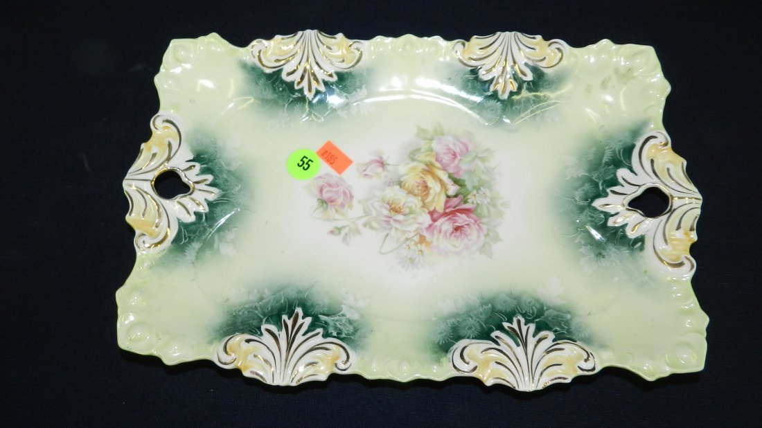 55: antique porcelain RS Prussia floral dresser tray co