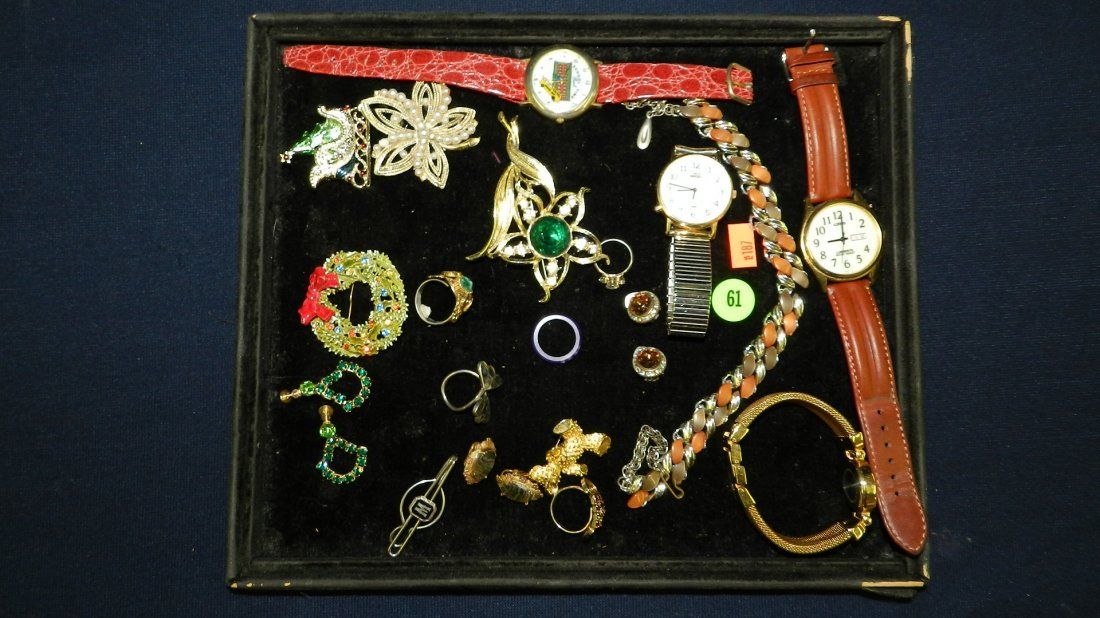 61: tray of estate jewelry (no tray)