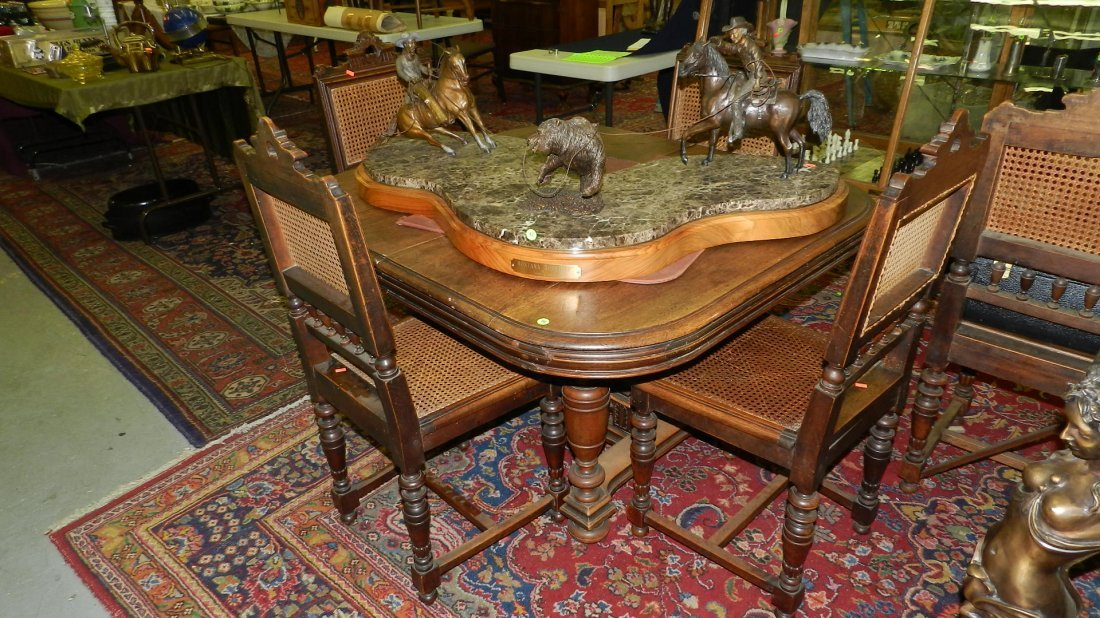 64: lovely 1800's walnut carved dining table and 4 chai