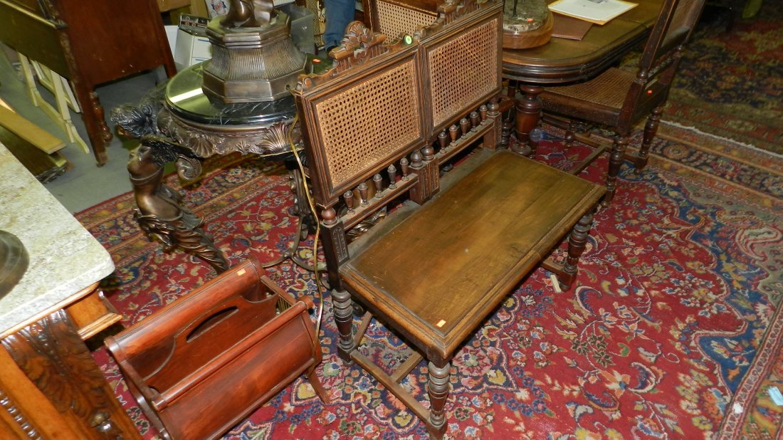 65: lovely 1800's walnut carved 2 piece chairs made int