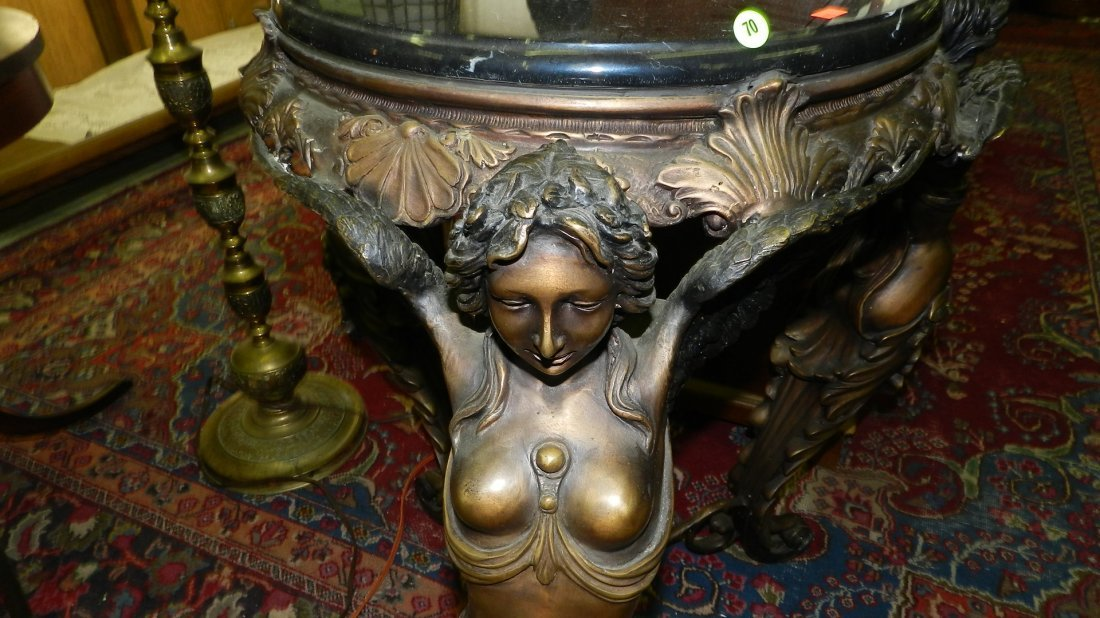 70: breathtaking bronze and marble figural nude wigned  - 2