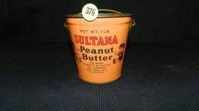 376: vintage Sultana peanut butter pail / tin