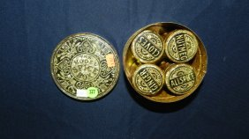 377: antique spice tin with cans