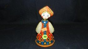 Antiqur Tin Nodder Rolling Toy Dutch? Girl