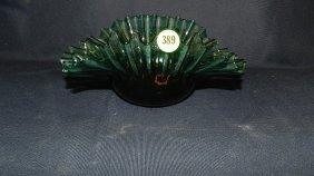 Ruffled Green Glass Bowl