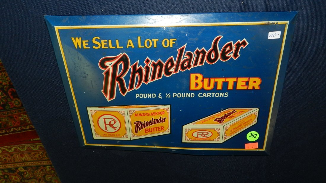 392: antique Rhinelander butter advertising tin litho s