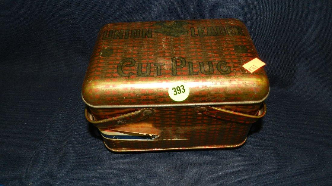 393: vintage Union Leader plug tin