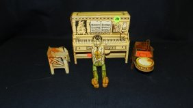 394: little abner unique art tin toy band as seen (part